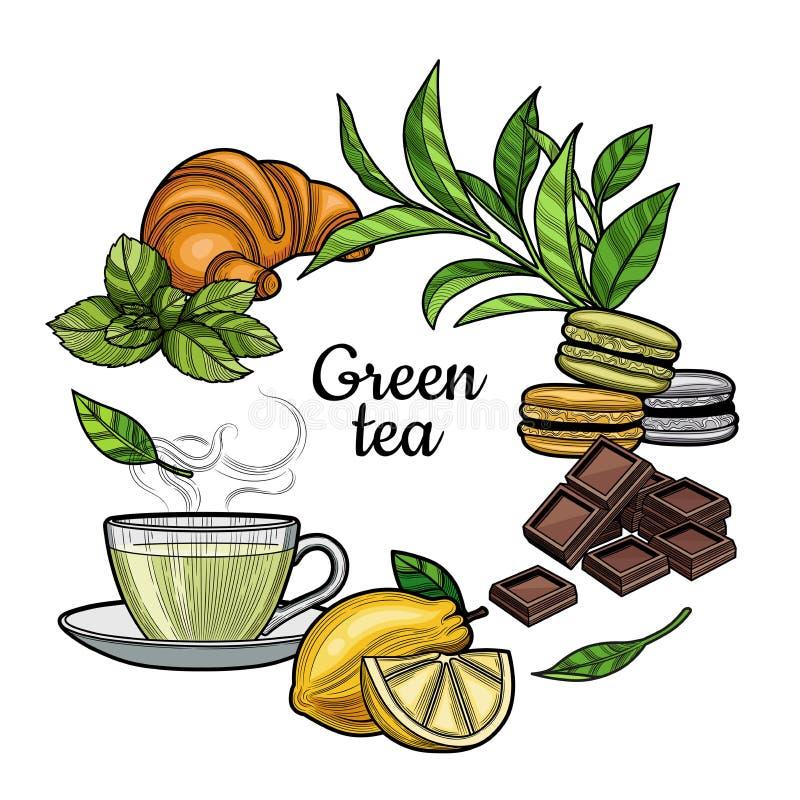 Grüner Tee Eine Tasse Tee, ein heißes Getränk Verzweigen Sie sich mit Blättern, Zitrone, ein Stück der Zitrone, Hörnchen, Makrone lizenzfreie abbildung