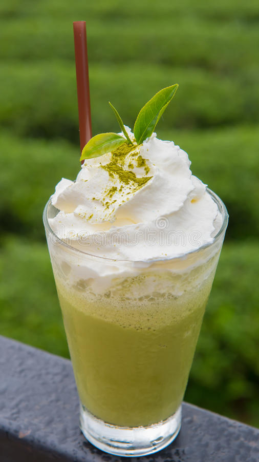 Grüner Tee frappe stockfotos