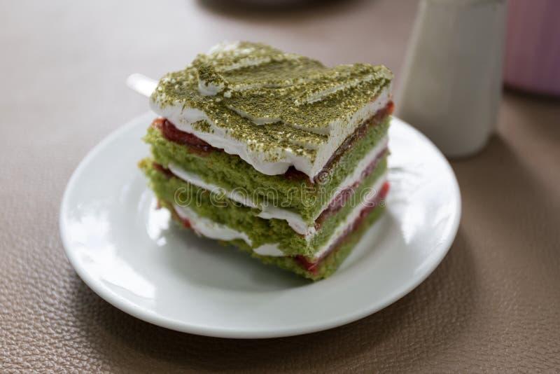 Grüner Tee-Kuchen stockfotos
