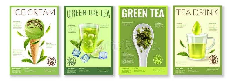 Grüner Tee-Plakat-Satz vektor abbildung