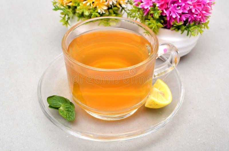 Grüner Tee-Schale mit Zitrone und Minze treiben Blätter stockbild