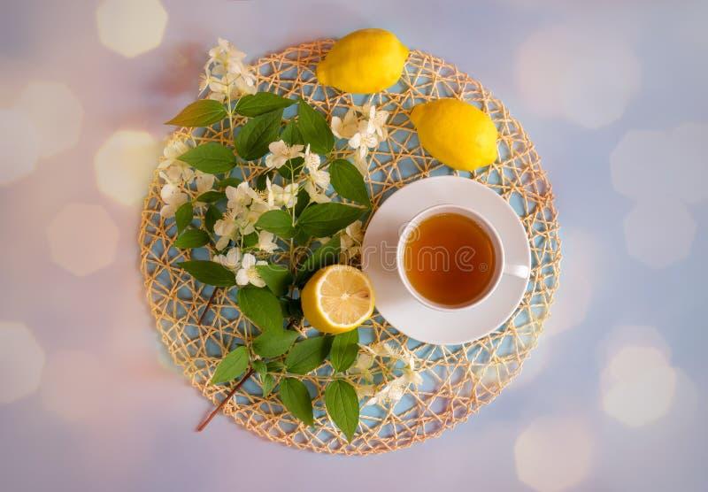 Grüner Tee, Zitronen und Jasminblumen auf blauem Hintergrund stockbilder