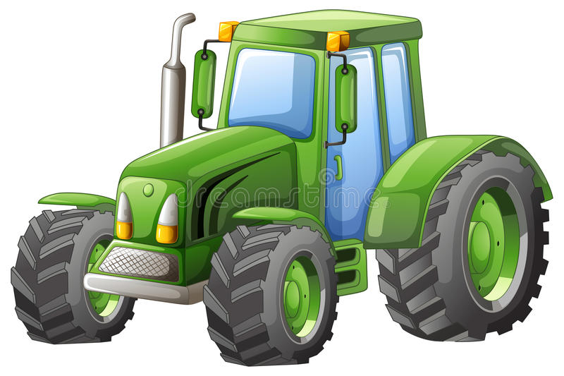 Grüner Traktor mit großen Rädern lizenzfreie abbildung