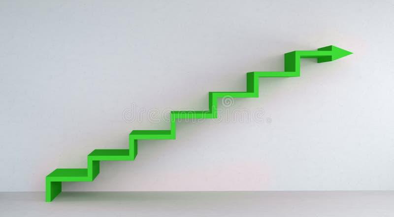 Grüner Treppenpfeil, der auf Wiedergabe der Betonmauer 3D steigt lizenzfreie abbildung