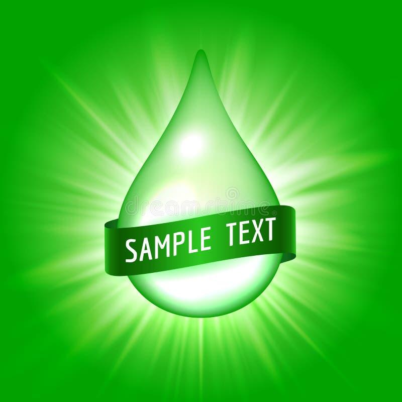 Grüner Tropfen mit Band für Text stock abbildung