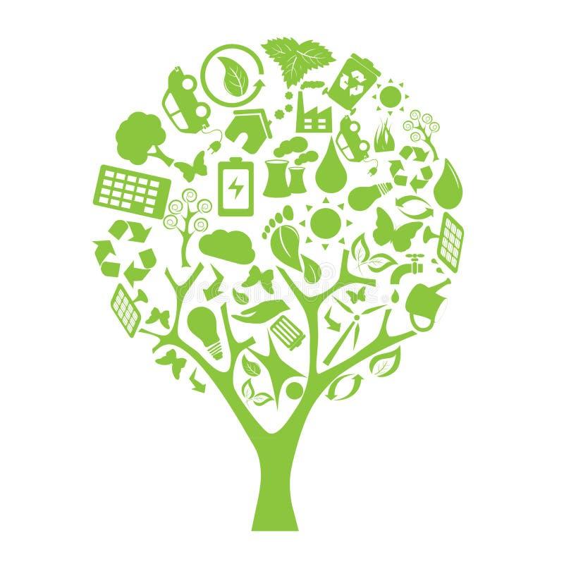 Grüner Umgebung eco Baum stock abbildung