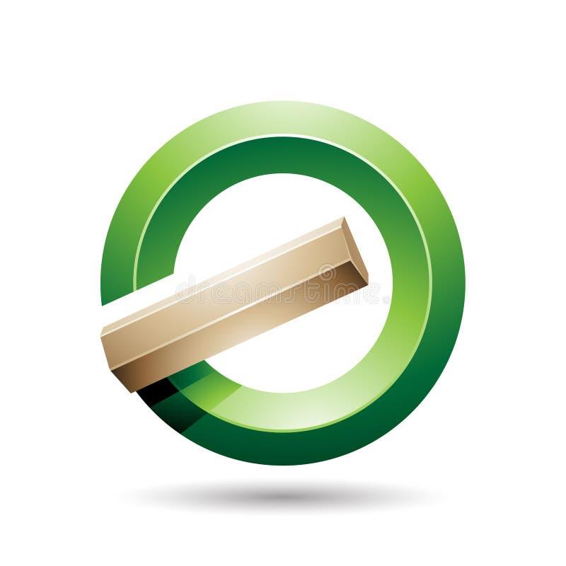 Grüner und beige runder glatter aufgehobener Buchstabe G oder eine Ikone stock abbildung