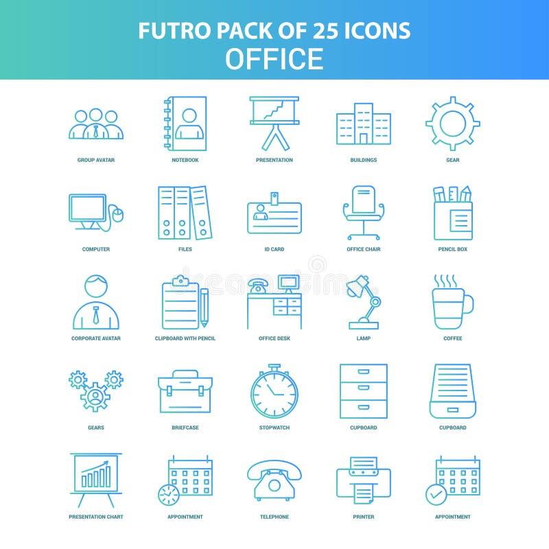 25 grüner und blauer Futuro-Büro-Ikonen-Satz vektor abbildung