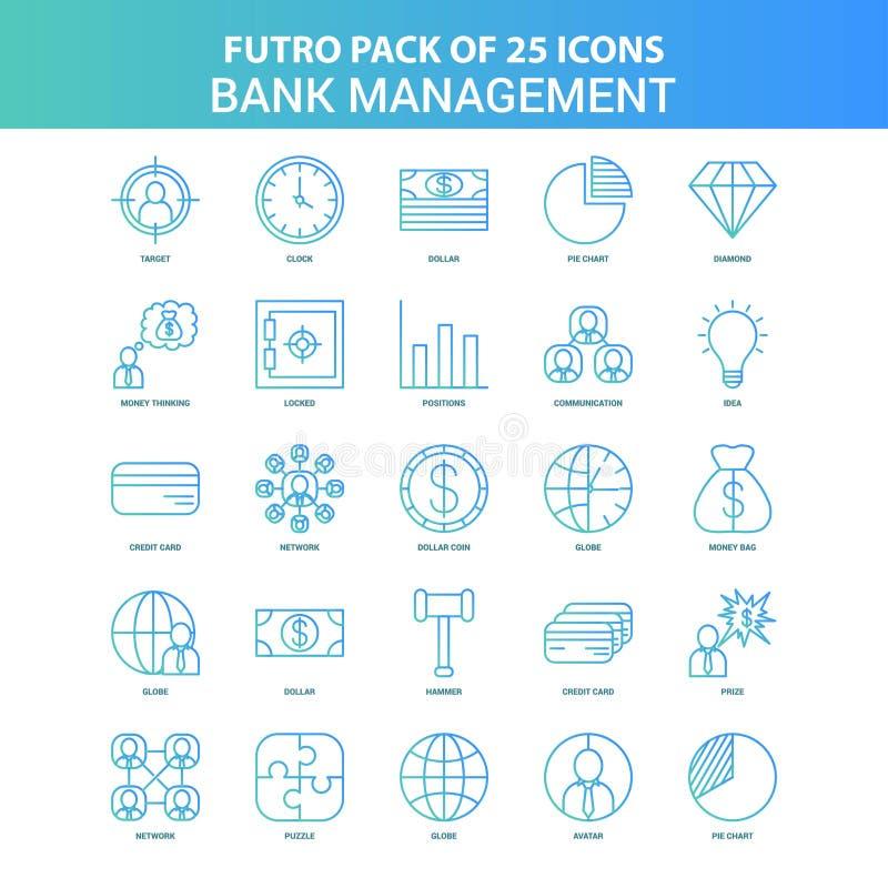 25 grüner und blauer Futuro-Bank-Management-Ikonen-Satz vektor abbildung