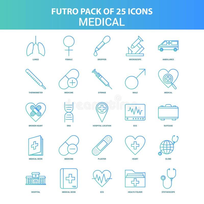 25 grüner und blauer medizinischer Ikonen-Satz Futuro lizenzfreie abbildung