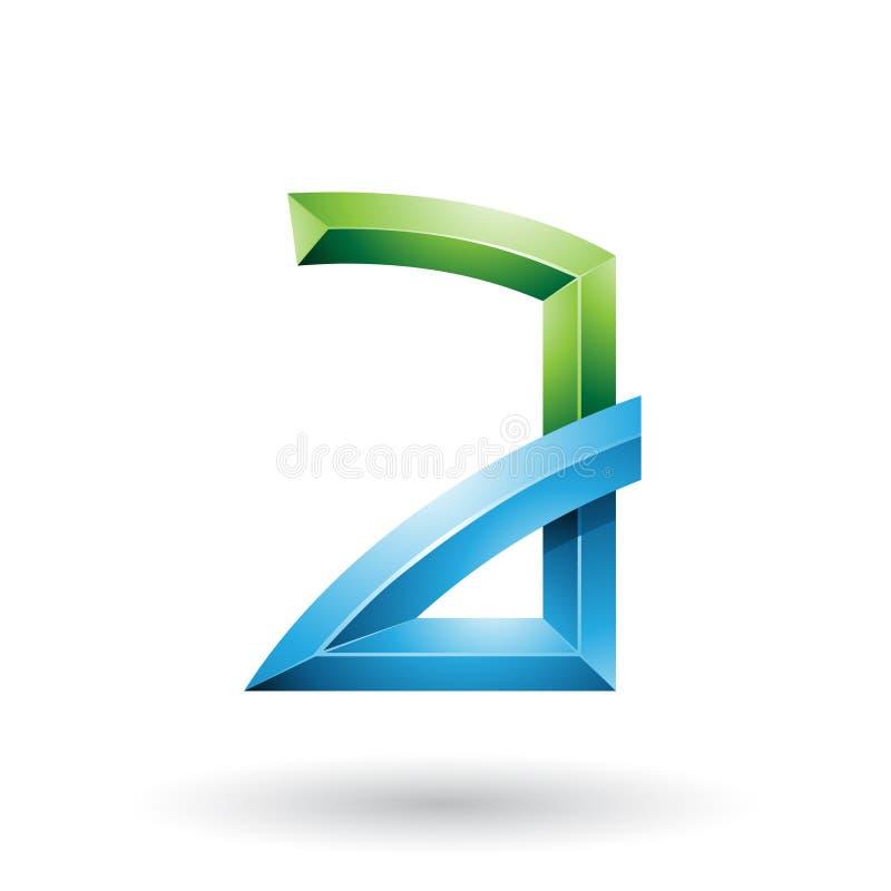Grüner und blauer prägeartiger Buchstabe A mit den verbogenen Gelenken lokalisiert auf einem weißen Hintergrund vektor abbildung
