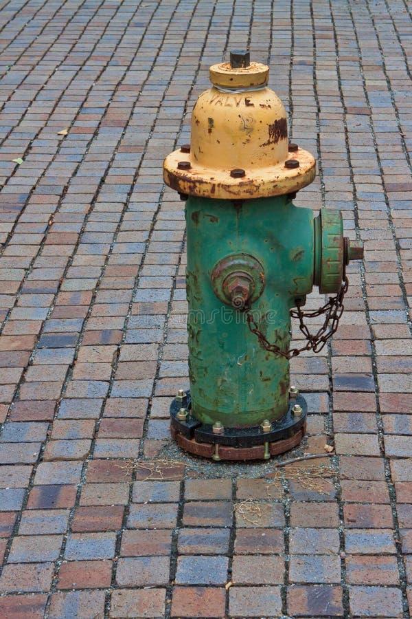 Grüner und gelber Hydrant auf Ziegelstein Gehweg lizenzfreie stockfotos