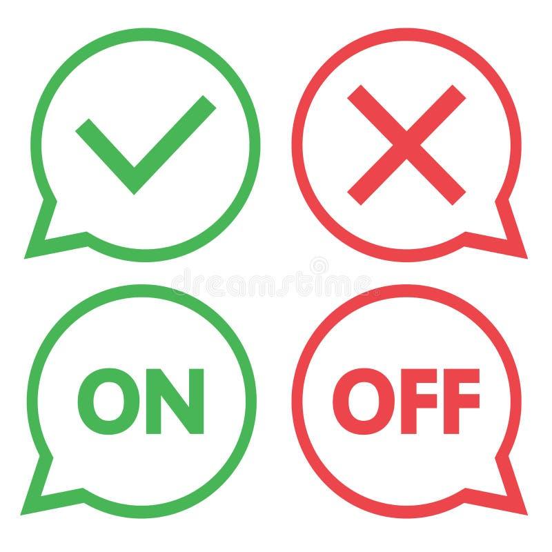Grüner und roter Satz Schwätzchenikonen Ja und keine Checkmarkierungen Auf und weg Vektor stock abbildung