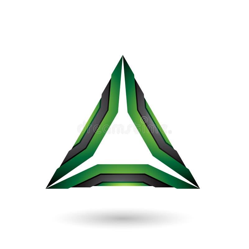 Grüner und schwarzer Mechaniker Triangle Vector Illustration stock abbildung