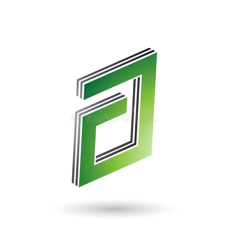 Grüner und schwarzer rechteckiger überlagerter Buchstabe A lizenzfreie abbildung