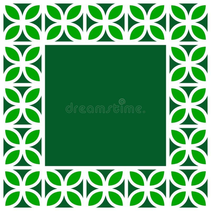 Grüner Und Weißer Klee Verlässt Gitter Geometrischen Quadratischen ...