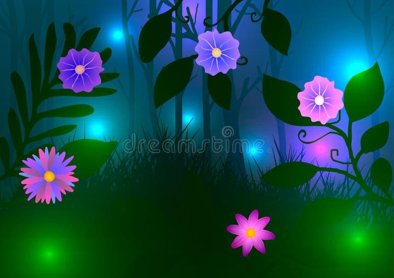 Grüner Wald mit Blumen und Leuchtkäfern nachts stock abbildung