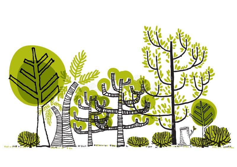 Grüner Waldzeichnung Vektor stockfoto
