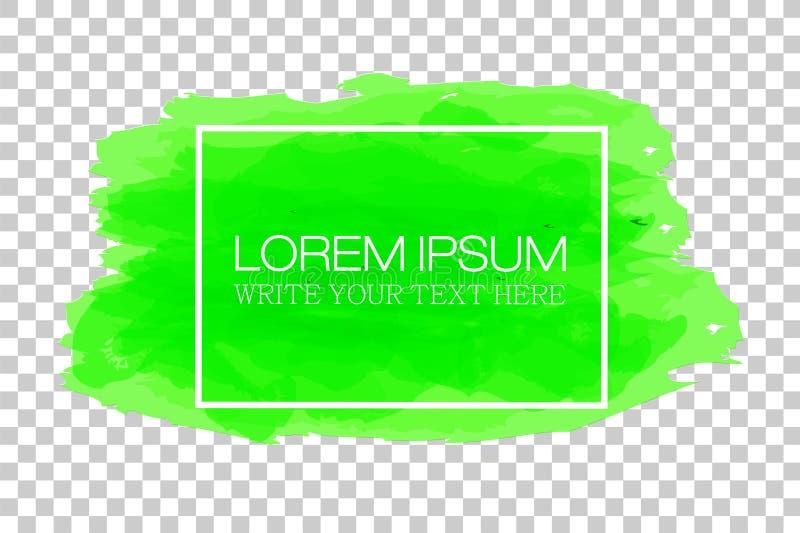 Grüner Wasser-Farbtext-Rahmen mit weißer Rechteck-Form-Linie, am transparenten Effekt-Hintergrund stock abbildung