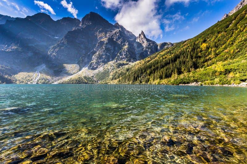Grüner Wassergebirgssee Morskie Oko, Tatra-Berge, Polen lizenzfreie stockfotografie