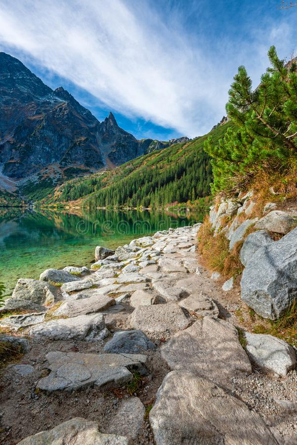 Grüner Wassersee Morskie Oko, Tatra-Berge, Polen lizenzfreies stockfoto