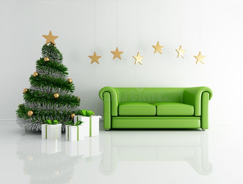 Grüner Weihnachtsinnenraum stock abbildung