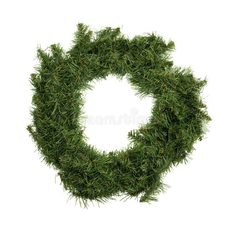 Grüner Weihnachtskranz auf einem weißen Hintergrund stockfotos