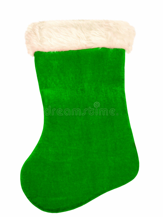 Grüner Weihnachtsstrumpf lizenzfreie stockfotos
