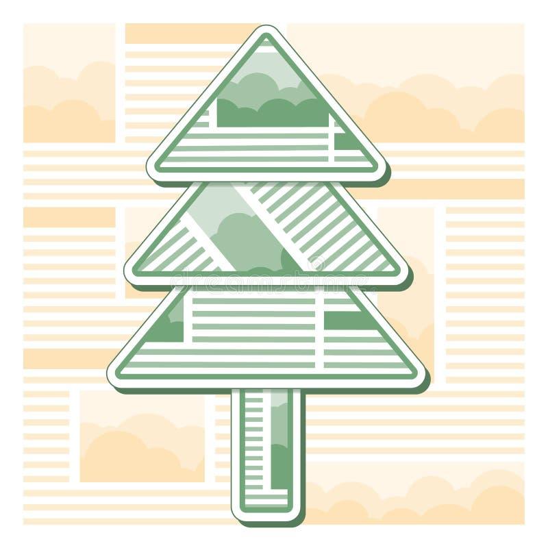 Grüner Weihnachtstannenbaum von den Blättern der Zeitung stockfotografie