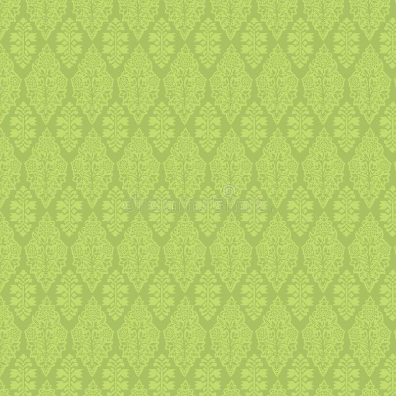 Grüner Weinlese-Damast-nahtlose Tapete vektor abbildung