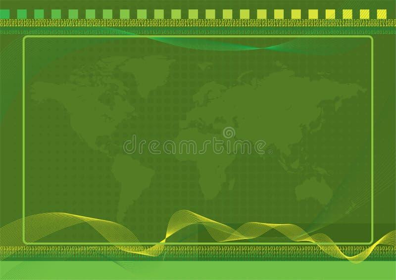Grüner Welthintergrund mit Halbtoneffekten stock abbildung