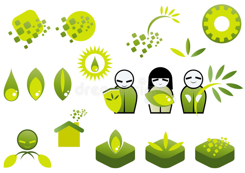 Grünes Ökologieikonenset vektor abbildung