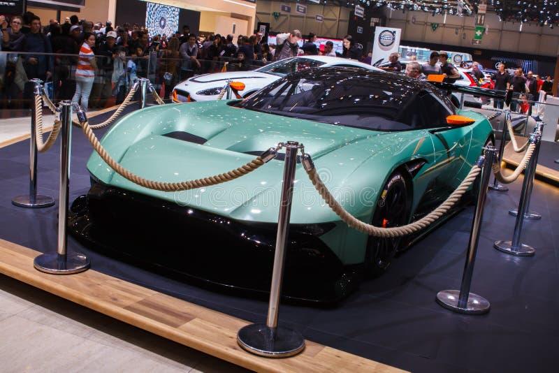 Grünes Aston Martin Vulcan Geneva Motor Show 2015 lizenzfreie stockfotos