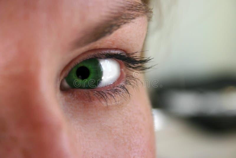 Grünes Auge des Neides lizenzfreies stockfoto