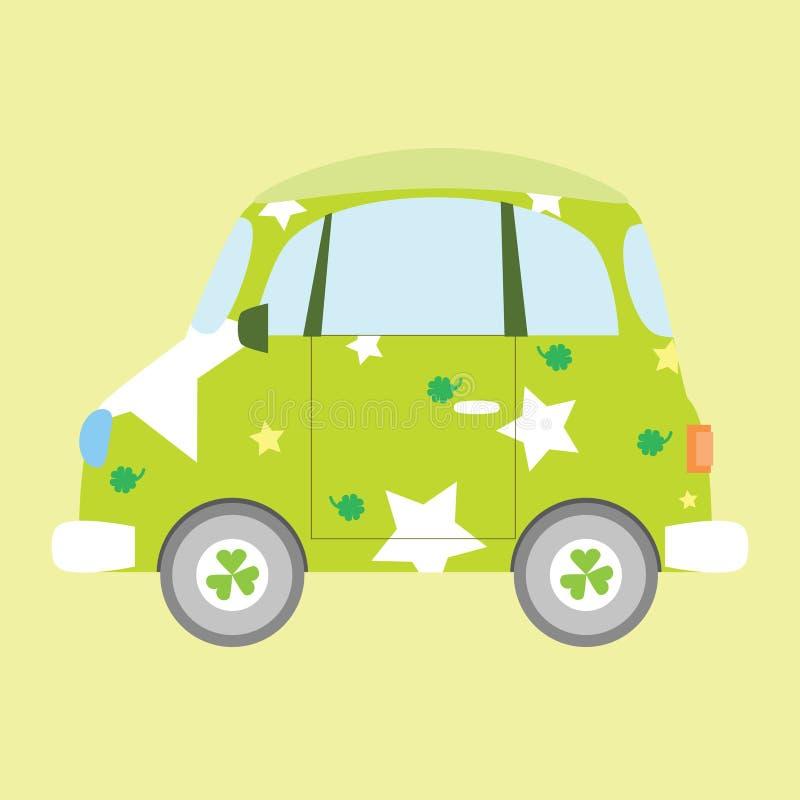 Grünes Auto mit Stern und Klee blüht Beschaffenheit lizenzfreie abbildung