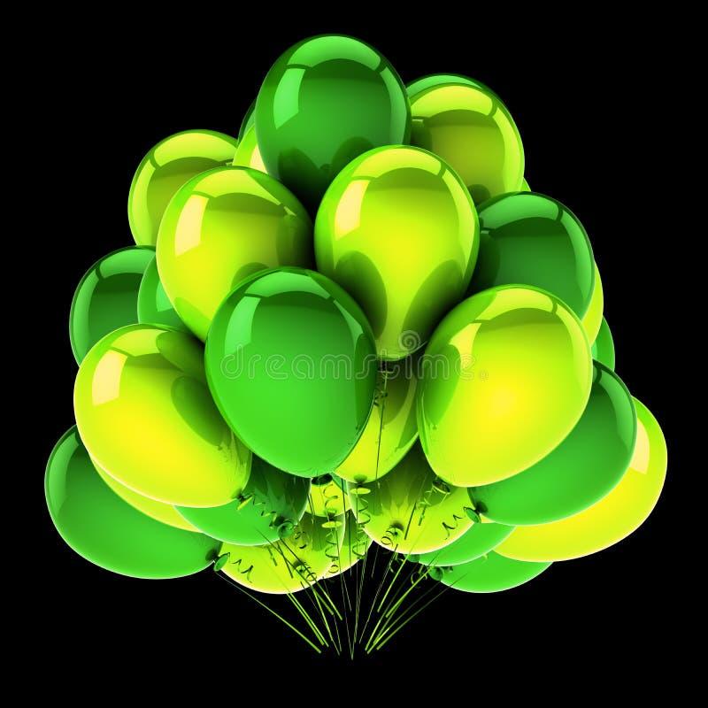 Grünes Bündel des Heliumballongeburtstagskarnevalsereignis-Parteisymbols vektor abbildung