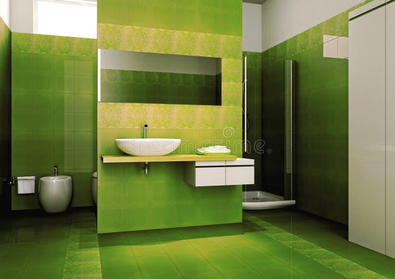 Grünes Badezimmer stock abbildung. Illustration von fenster - 8820080