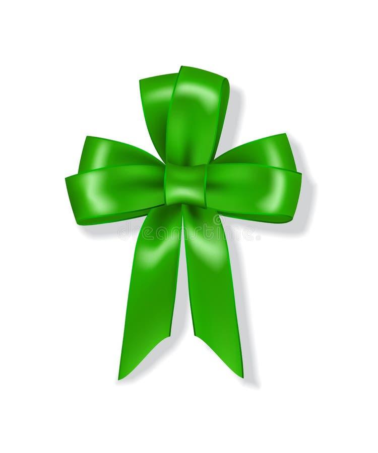 Grünes Band mit Bogen faltete sich in Form von dem Blattklee, der auf weißem Hintergrund lokalisiert wurde vektor abbildung