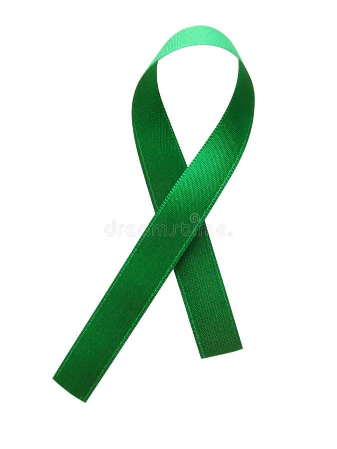 Grünes Bandbewusstsein lokalisiert auf weißem Hintergrund lizenzfreie stockfotos