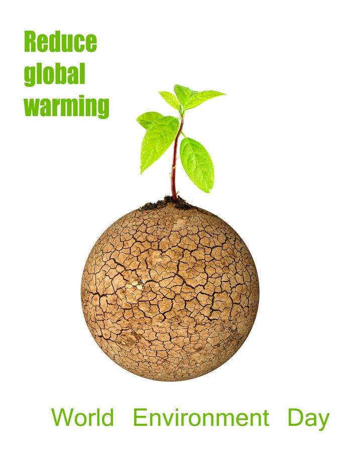 Grünes Blatt des Baums an gebrochenem Erdkonzept-Weltumwelttag lizenzfreie abbildung