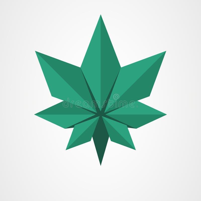Grünes Blatt des Origamis lizenzfreie abbildung