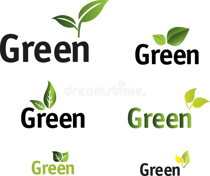 Grünes Blatvektorset. lizenzfreie abbildung