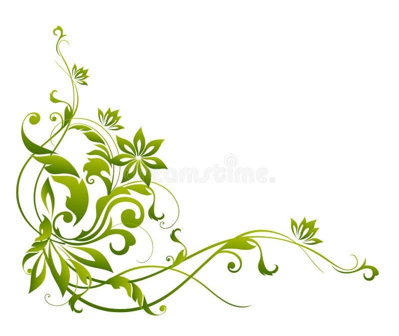 Grünes Blumen- und Rebemuster lizenzfreie abbildung