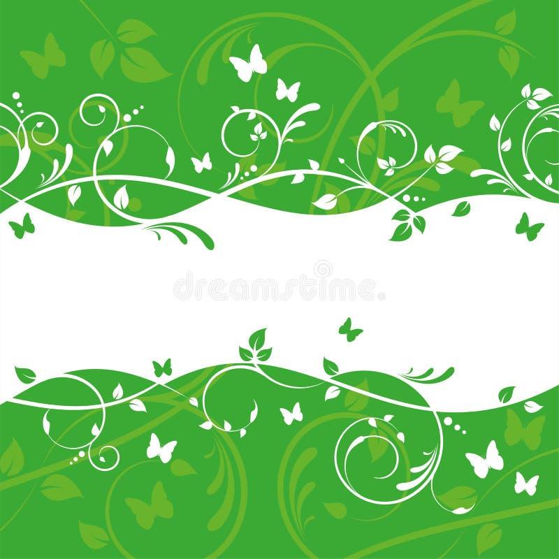 Grünes Blumenfahnen-Design vektor abbildung