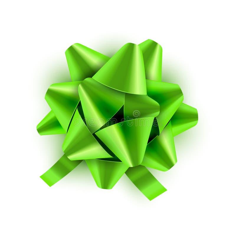 Grünes Bogenband lokalisiert Vektorillustration für Feierglückwunschkarte Festliche grüne Bogendekoration für Feriengeschenk stock abbildung