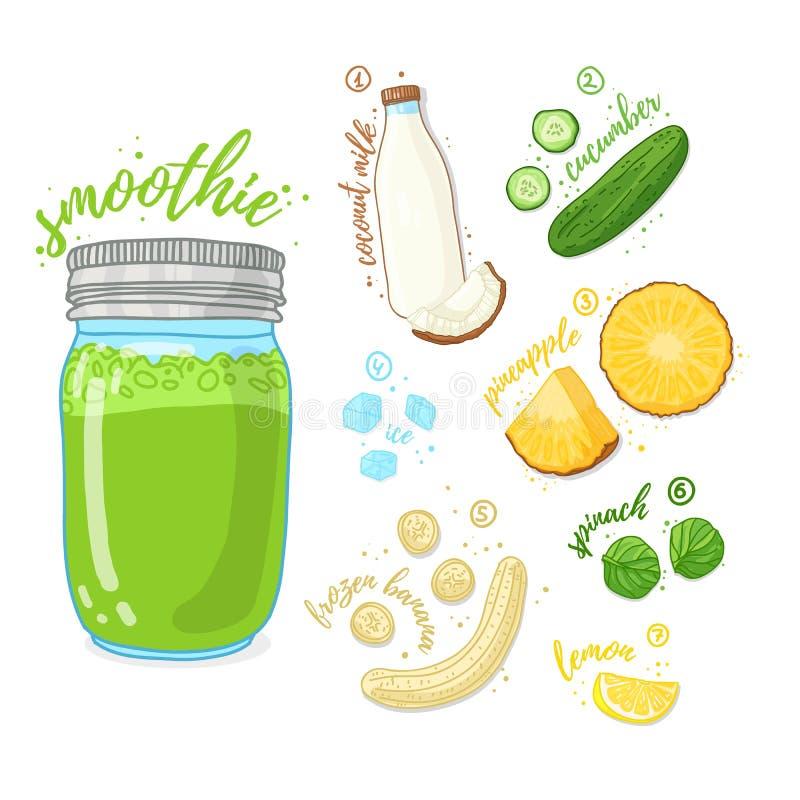 Grünes Cocktail für gesundes Leben Smoothies mit Ananas, Kokosmilch, Banane, Gurke und Spinat Rezeptvegetarier lizenzfreie abbildung
