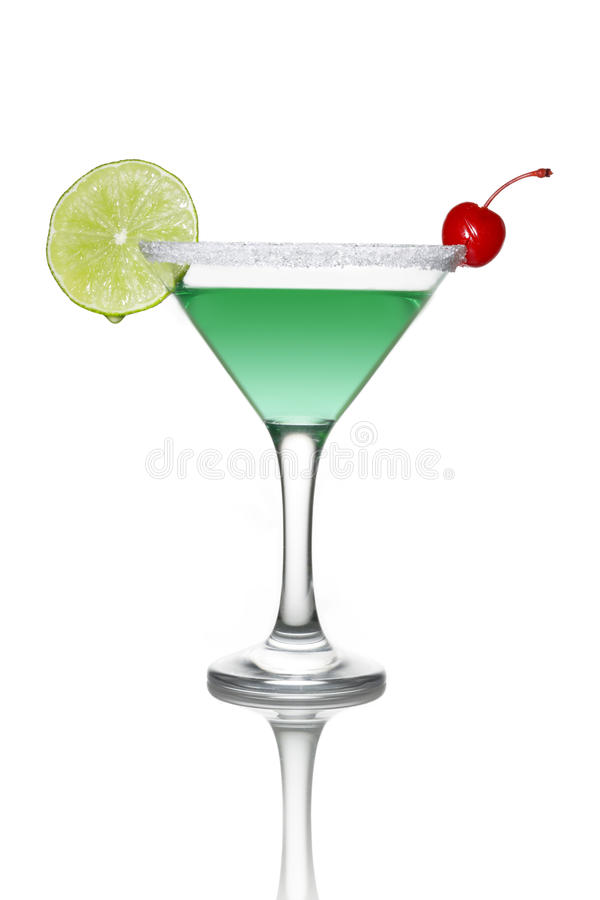 Grünes Cocktail mit Kalk stockfoto