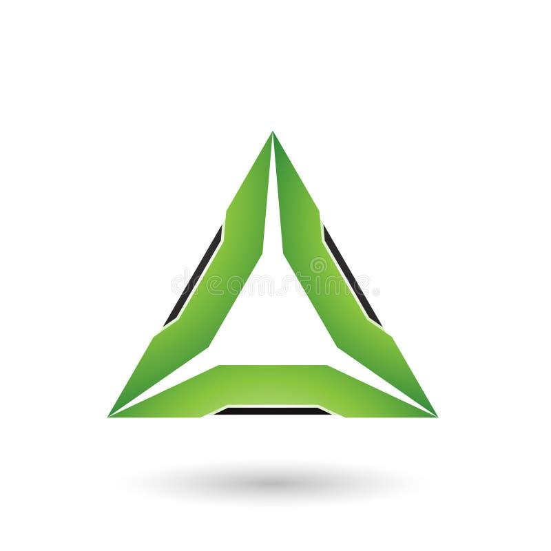 Grünes Dreieck mit schwarzer Rand-Vektor-Illustration stock abbildung