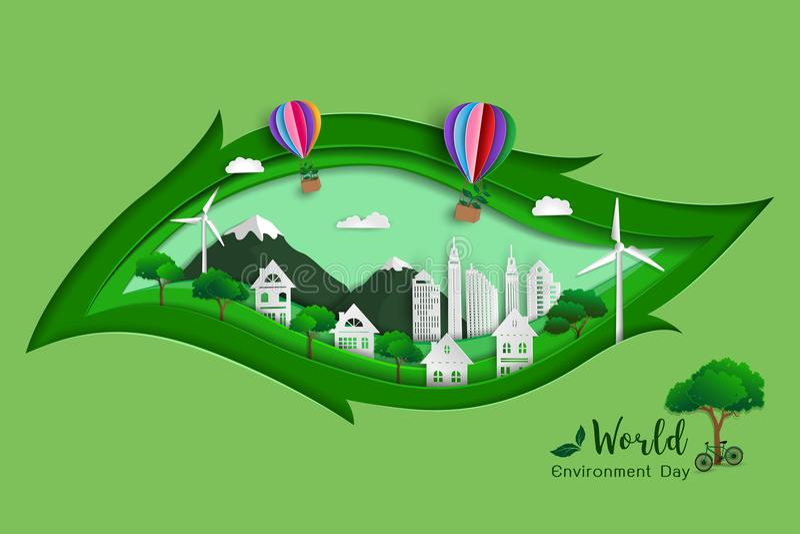 grünes eco freundliche Abwehr die Welt und die Umwelt, Papierkunstdesign mit Blattformhintergrund lizenzfreie abbildung