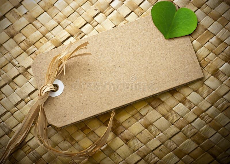 Grünes eco freundliche Meldung, unbelegte Marke lizenzfreies stockfoto